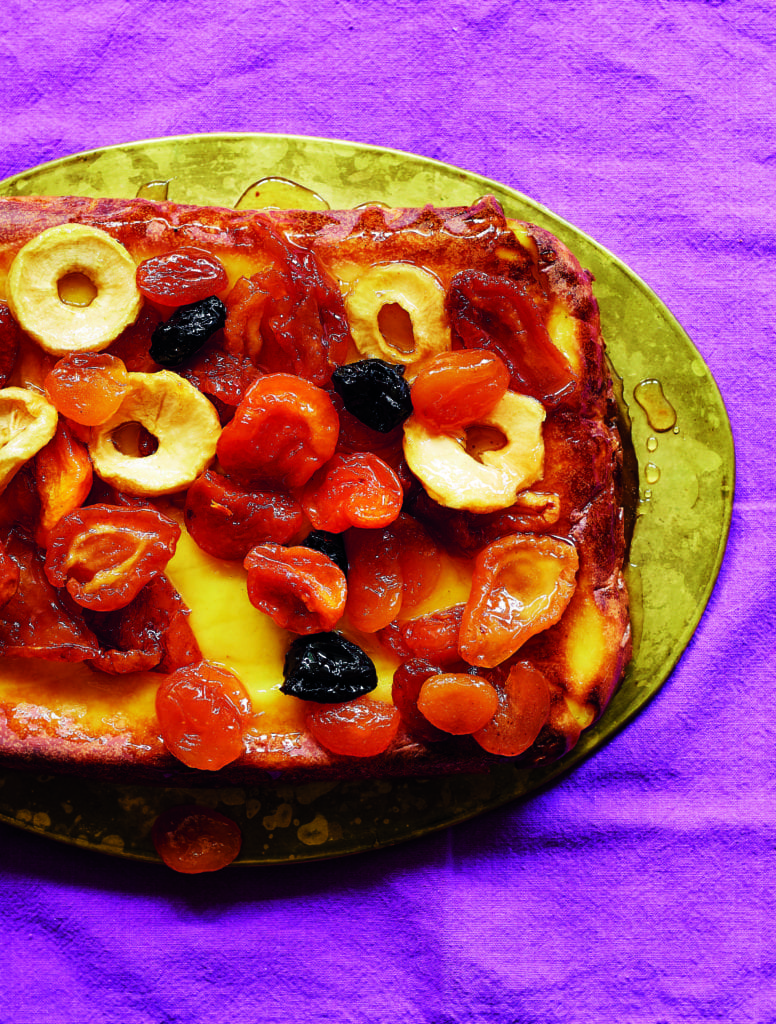 Potato pudding with Stewed dried fruit