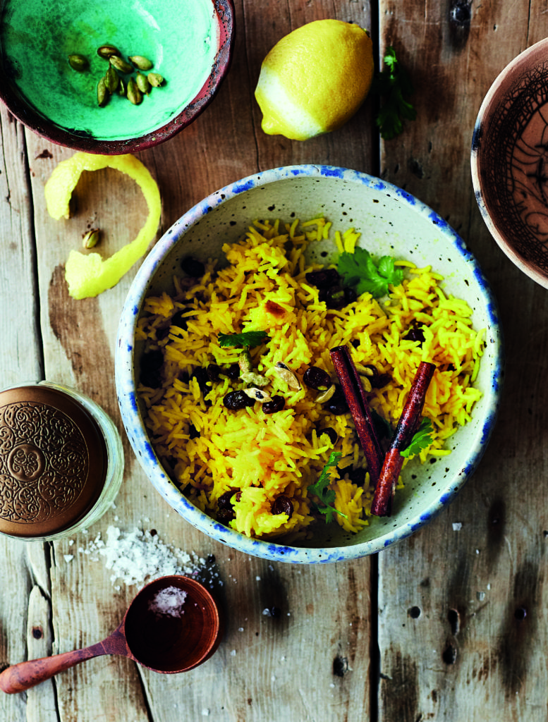 Sweet Yellow Rice with Raisins and Lemon Zest
